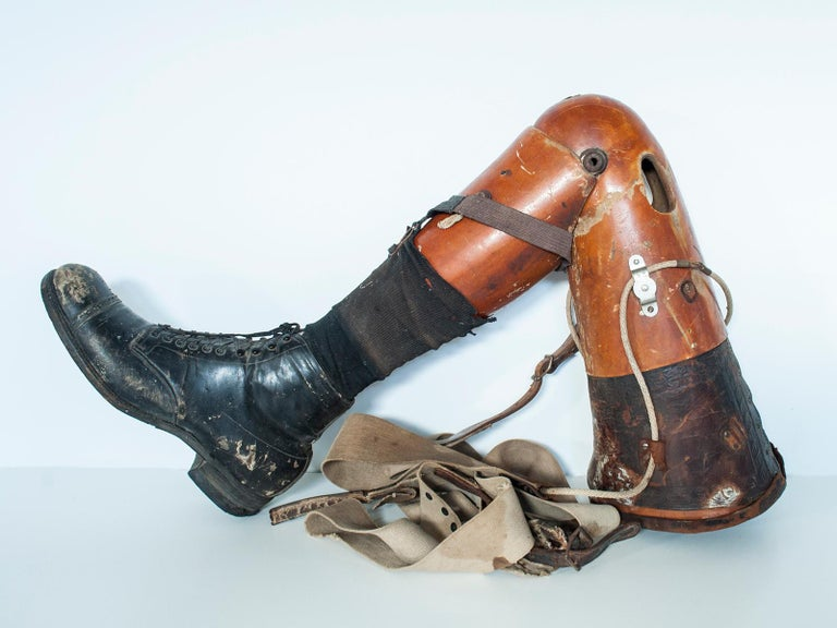 Rustic Early 20th Century Wooden Prosthetic Leg For Sale