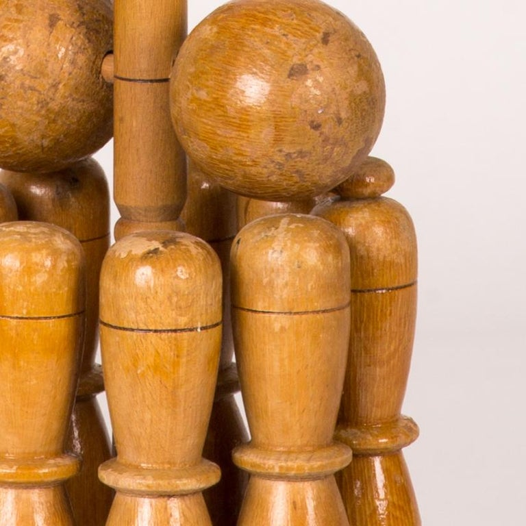 English Early 20th Century Wooden Skittle Set with Stand from England  For Sale