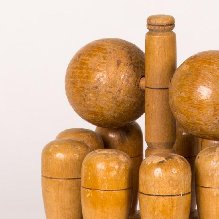 Early 20th Century Wooden Skittle Set with Stand from England  In Good Condition For Sale In Los Angeles, CA