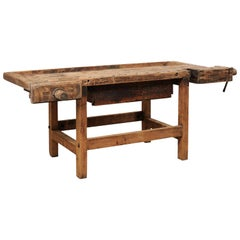 Early 20th Century Wooden Work Bench- Would Make Unique Extra Kitchen Work Space