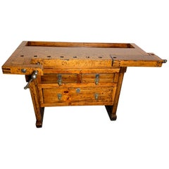 Early 20th Century Workbench with Three Drawers