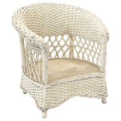 Early 20th Century Woven Wicker Barrel Chair