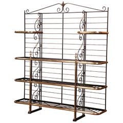 Early 20th Century Wrought Iron and Brass Baker's Rack Signed Paris, France