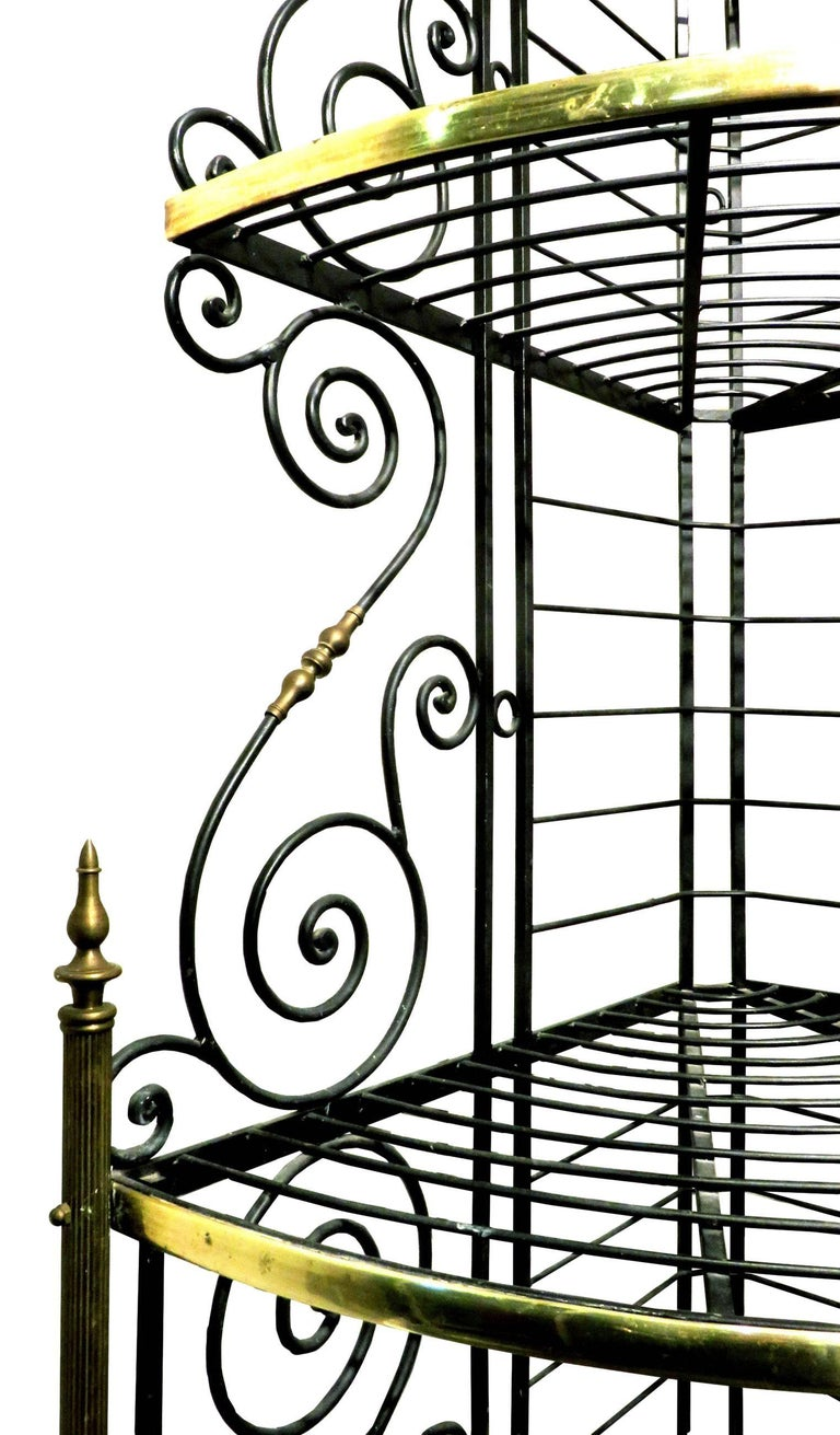 French Early 20th Century Wrought Iron & Brass Corner Baker's Rack, France Circa 1930 For Sale