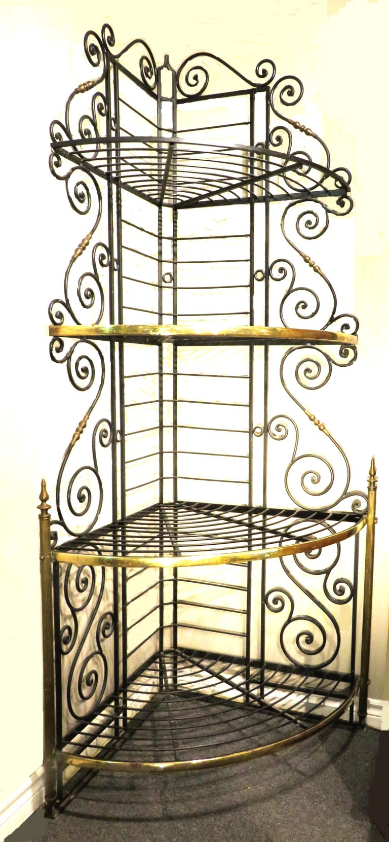 French Provincial Early 20th Century Wrought Iron & Brass Corner Baker's Rack, France Circa 1930 For Sale