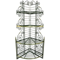 Early 20th Century Wrought Iron & Brass Corner Baker's Rack, France Circa 1930