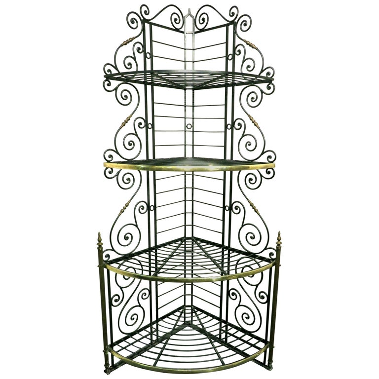 Early 20th Century Wrought Iron & Brass Corner Baker's Rack, France Circa 1930 For Sale