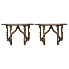 Early 20th Convertible Spanish Walnut Console Tables with Lyre Legs