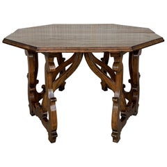 Early 20th Convertible Spanish Walnut Dining Room, Center Table with Lyre Legs