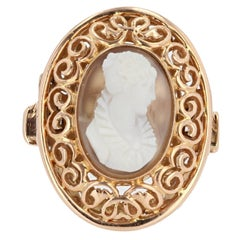 Early 20th French Antique Gold Agate Cameo Ring