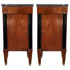 Early 20th French Nightstands Walnut and Ebonized Columns with Drawers and Door