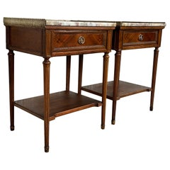 Early 20th Century Pair of French Nightstands with One-Drawer and Marble Top