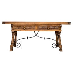 Early 20th Spanish Console Fold Out Table with Iron Stretcher and Two Drawers
