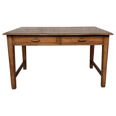 Early 20th Spanish Mobila Country Farm Desk with Two Drawers or Butcher Block
