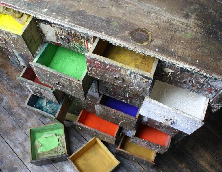 Bank of Drawers Sculptural Artist Studio Pigment Dispensing Cabinet  For Sale 5