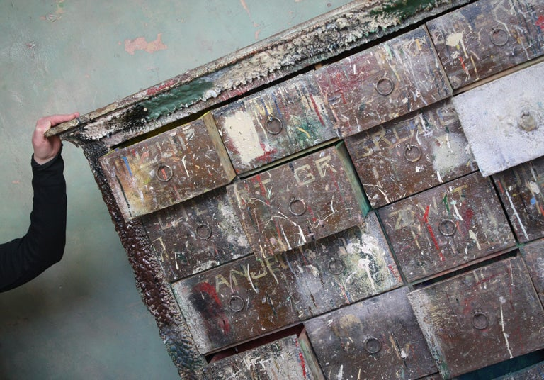 Bank of Drawers Sculptural Artist Studio Pigment Dispensing Cabinet  For Sale 8