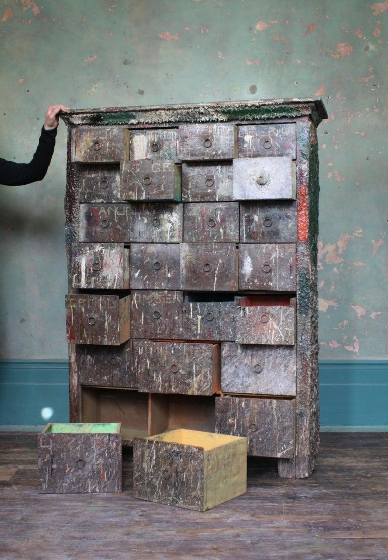 Bank of Drawers Sculptural Artist Studio Pigment Dispensing Cabinet  For Sale 13