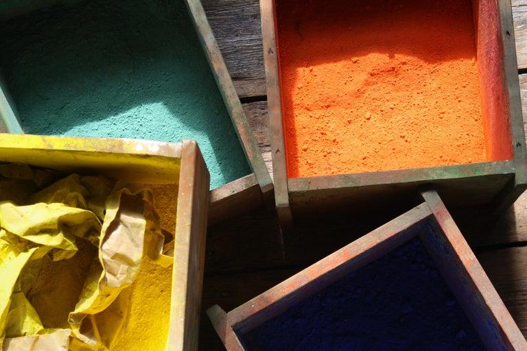 Industrial Bank of Drawers Sculptural Artist Studio Pigment Dispensing Cabinet  For Sale
