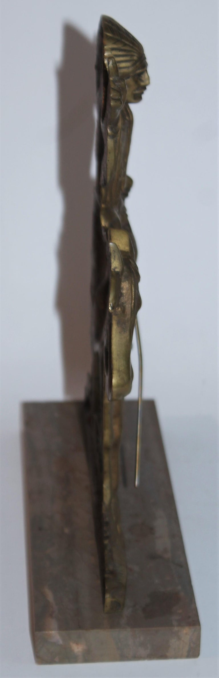 American Early 20thc Bronze Indian Sculpture on Marble Base