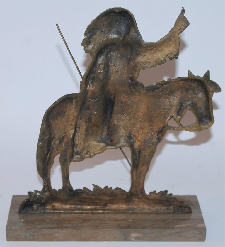 20th Century Early 20thc Bronze Indian Sculpture on Marble Base