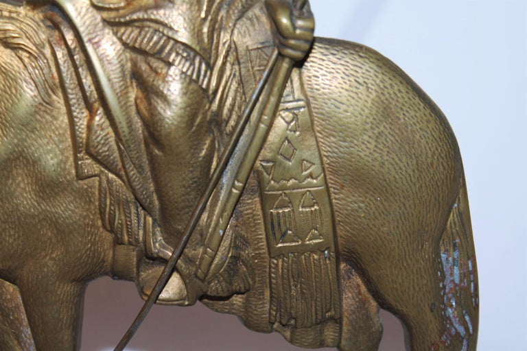 Brass Early 20thc Bronze Indian Sculpture on Marble Base