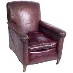 Early 20th Century Burgundy Leather Armchair, circa 1925-1935