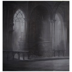 French Painted Canvas Trompe L'oeil Cathedral Theatre Backdrop
