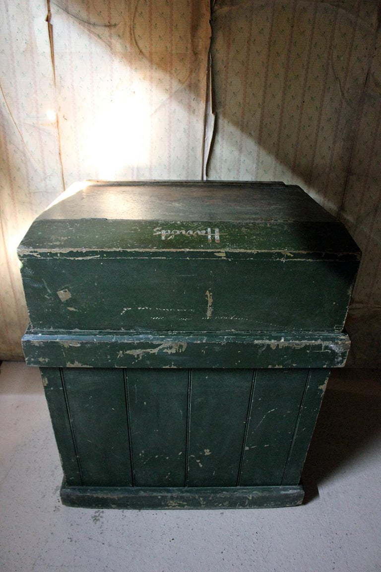 Early 20th Century Green Painted Pine Reception Shop Counter Desk for Harrods For Sale 6