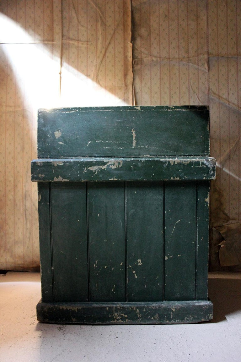 Early 20th Century Green Painted Pine Reception Shop Counter Desk for Harrods For Sale 7