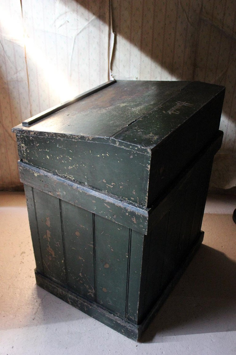 Early 20th Century Green Painted Pine Reception Shop Counter Desk for Harrods For Sale 8