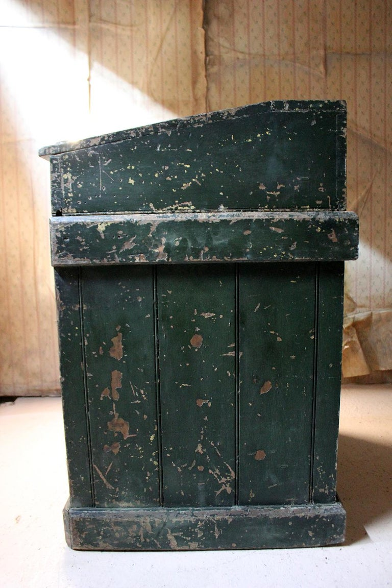 Early 20th Century Green Painted Pine Reception Shop Counter Desk for Harrods For Sale 10