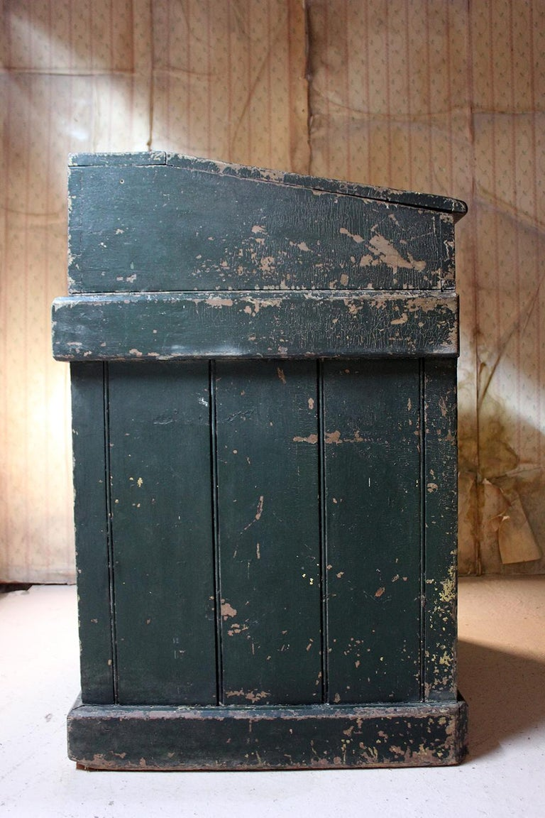 Early 20th Century Green Painted Pine Reception Shop Counter Desk for Harrods For Sale 2