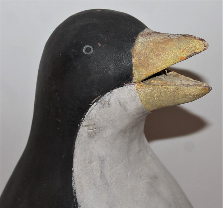 Hand-Crafted Early 20th Century Hand Carved and Painted Penguin For Sale