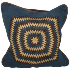 Early 20Thc Hand Knit Starburst Pillow