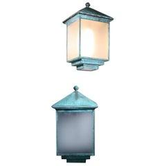 Huge Pair of Verdigris Copper Wall Sconces Lanterns Lights Art Deco
