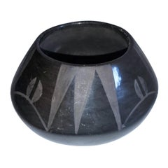 Early 20th Century Native American Black Pottery Bowl