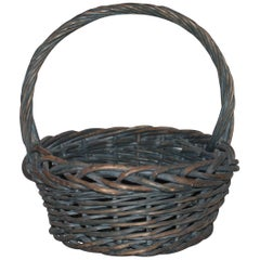 Early 20th Century Original Blue Painted Handled Basket