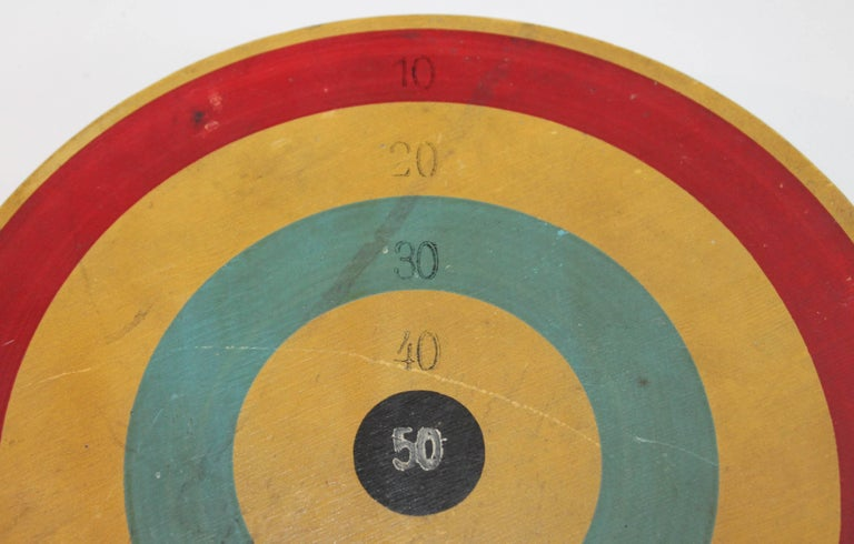 This early original painted target game board is in fine condition and has amazing patina. The condition is very good.