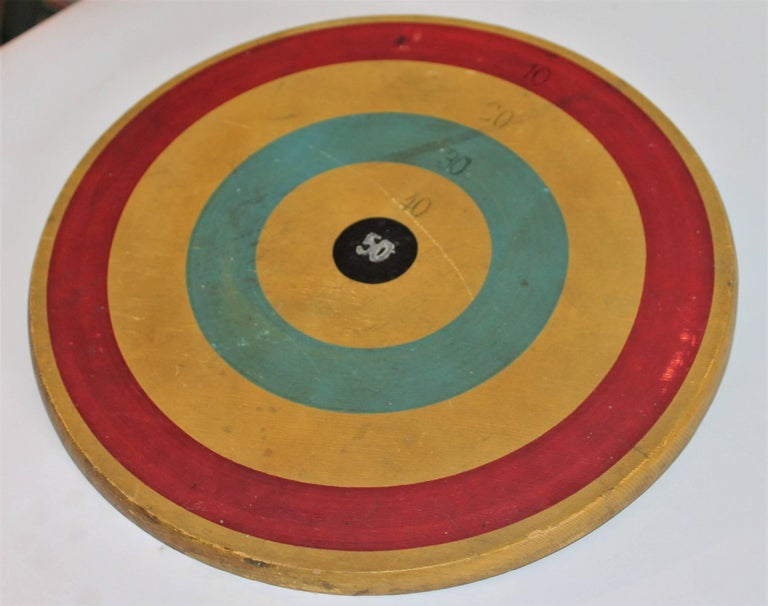Folk Art Early 20th Century Original Painted Target Game Board For Sale