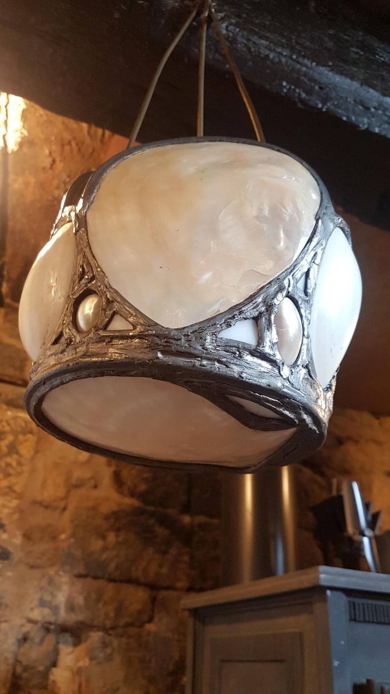 Early 20th Century Oyster Shell Hanging Lantern from Upton House Estate For Sale 4