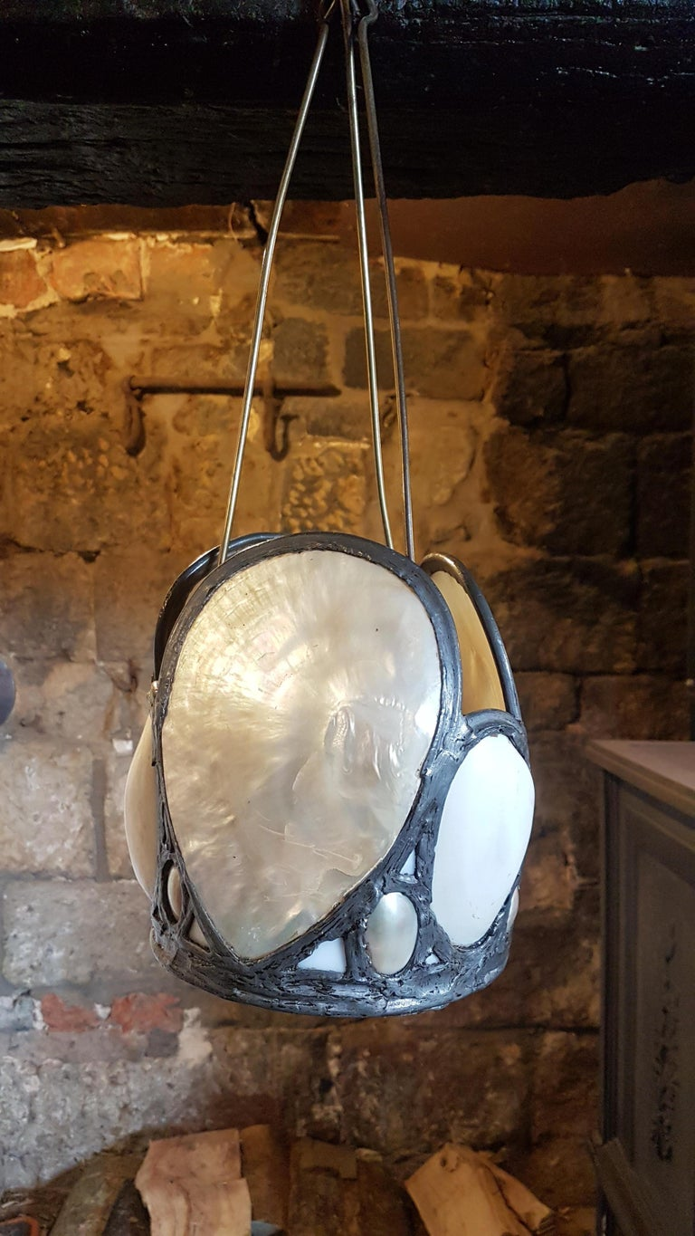 Early 20th Century Oyster Shell Hanging Lantern from Upton House Estate For Sale 2