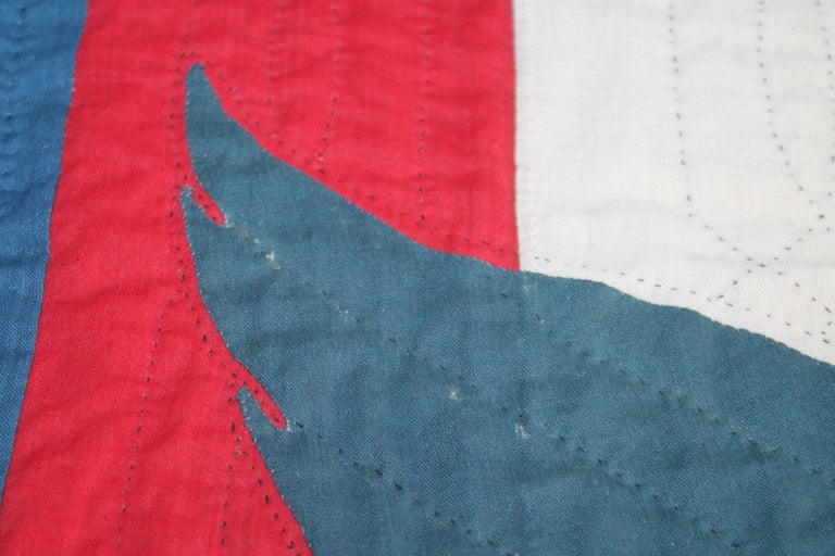 Early 20th Century Patriotic Eagle Crib Quilt For Sale 3
