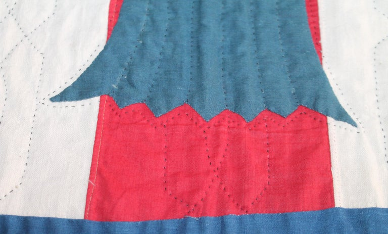 Early 20th Century Patriotic Eagle Crib Quilt For Sale 4
