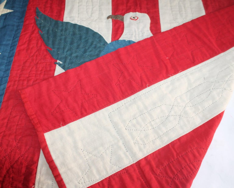 Early 20th Century Patriotic Eagle Crib Quilt For Sale 5