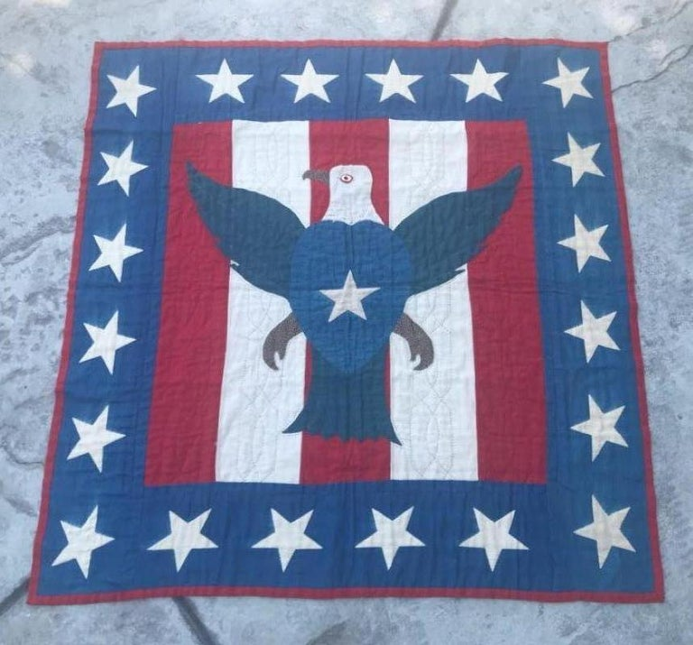 Country Early 20th Century Patriotic Eagle Crib Quilt For Sale