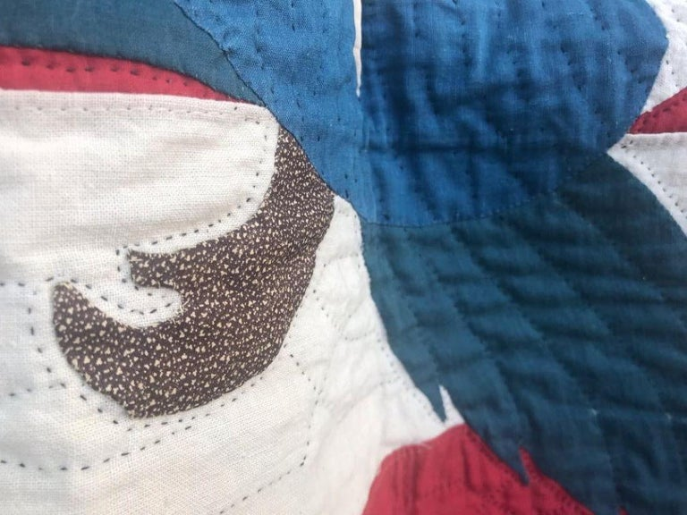 Hand-Crafted Early 20th Century Patriotic Eagle Crib Quilt For Sale