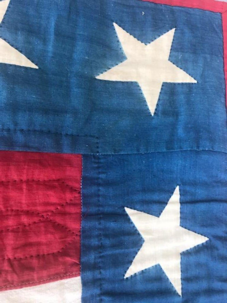 Early 20th Century Patriotic Eagle Crib Quilt For Sale 1