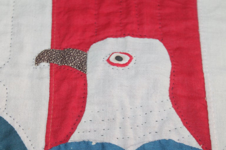 Early 20th Century Patriotic Eagle Crib Quilt For Sale 2
