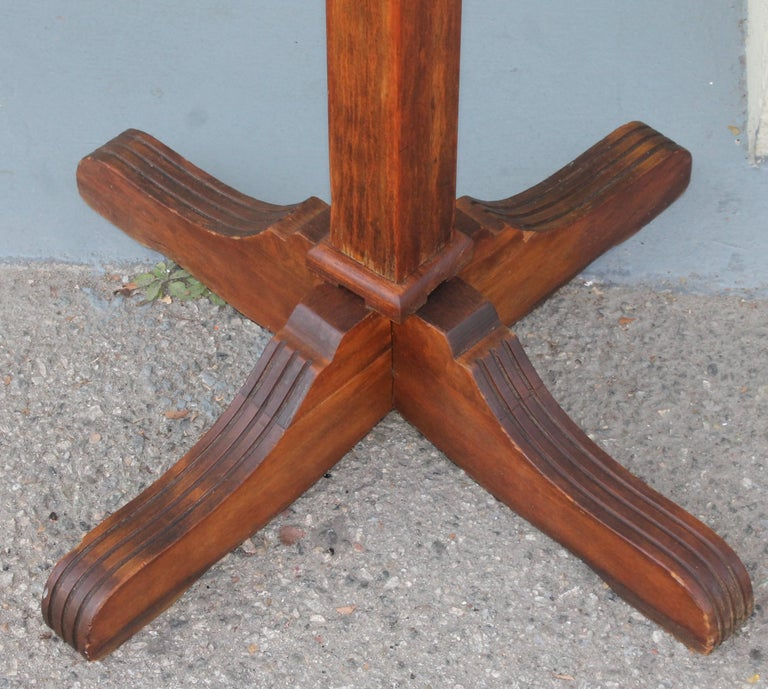Early 20th Century Pine Hall Tree with Original Iron Hardware For Sale 1