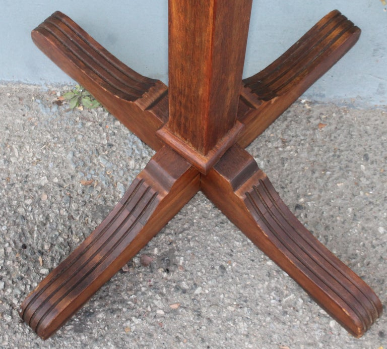 Early 20th Century Pine Hall Tree with Original Iron Hardware For Sale 2